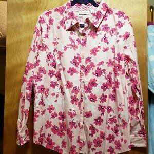 White Collared Dress Shirt w/ Pink Flowers